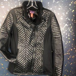 Zella Black Goose Down Moto Puffer Jacket Size M